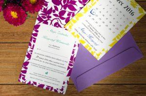 zaproszenia ślubne w formie kartki z kalendarza